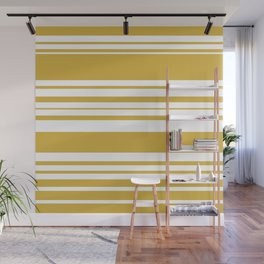 Mustard and White Stripes Minimalist Color Block Pattern Wall Mural