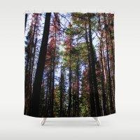 daria Shower Curtains featuring trees by Dar'ya Vlasova
