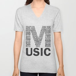 Chalkboard Music Genres Unisex V-Neck