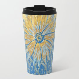 Animal Print Cheetah Yellow and Blue Pattern Travel Mug