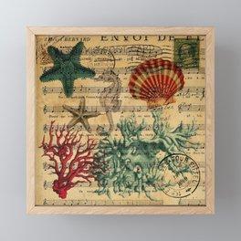 french botanical art music notes starfish seashell Framed Mini Art Print