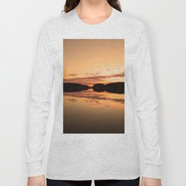 Beautiful sunset - glowing orange - forest silhouette and reflection Long Sleeve T-shirt
