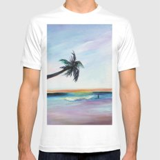 Be Back At Sunset White Mens Fitted Tee MEDIUM