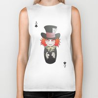 mad hatter Biker Tanks featuring Kokeshi Mad Hatter by Pendientera