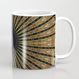 Metallic  Filigree Medallion on Black (faux texture) Background Coffee Mug