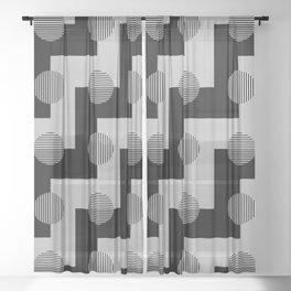 Geometric Zig Zags & Circles Pattern - Black White Gray Sheer Curtain