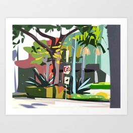 Los Angeles Palm Tree Street Scene Painting Art Print