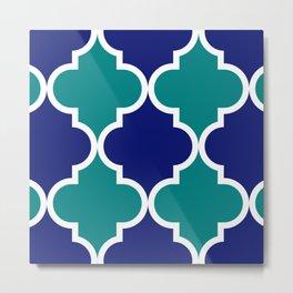 Quatrefoil large blue green Metal Print