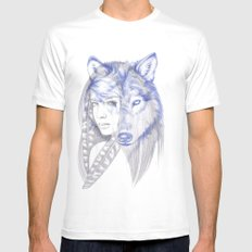 She Wolf Mens Fitted Tee LARGE White