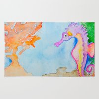 sea horse Area & Throw Rugs featuring Sea Horse 2 by HollyJonesEcu
