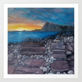 Sunset at Elgol Beach, Fantastic Modern Oil Painting on Canvas, Landscape by Luna Smith Art Print