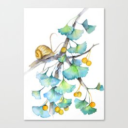 Ginkgo and A Snail Canvas Print