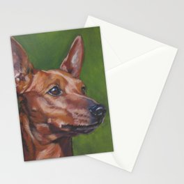 Miniature Pinscher dog art portrait from an original painting by L.A.Shepard Stationery Cards