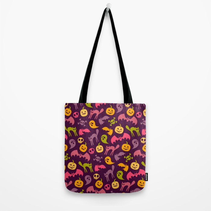 Neon Halloween Pattern - Purple Background Tote Bag