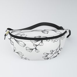 Leaves Branches Black Outlines Pattern Fanny Pack