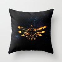 targaryen Throw Pillows featuring Zelda Triforce Red Flame by aleha