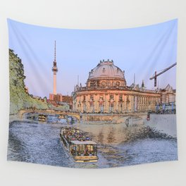 Berlin Spree Bode Museum and Alexander tower Wall Tapestry