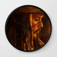 jack sparrow Wall Clocks featuring Captain Jack Sparrow by Rosita Maria