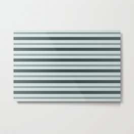 Night Watch Color of the Year Thick and Thin Horizontal Stripes on Cave Pearl Light Mint Green Metal Print