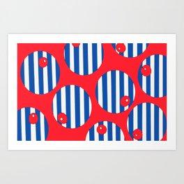snooker balls on red Art Print