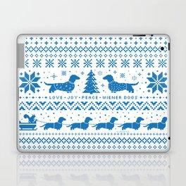 Love Joy Peace Wiener Dogs Blue Pattern Laptop & iPad Skin