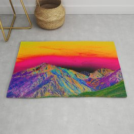 California's Sierra Mts-Digital Art, Green & Purple Rug