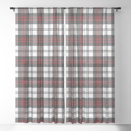 Cozy Plaid in Black and Red Sheer Curtain