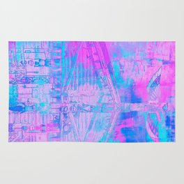 Totem Cabin Abstract - Hot Pink & Turquoise Rug