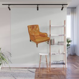 ARMCHAIR walnut, leather 19th century  circa 1880.in watercolor Wall Mural