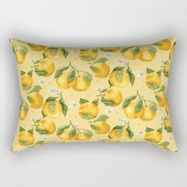 Fresh Juicy Oranges with Flowers Rectangular Pillow
