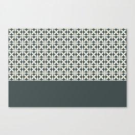 Pantone Cannoli Cream Square Petal Pattern on PPG Night Watch Pewter Green Canvas Print