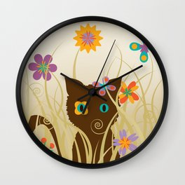 Whimsical Blooming Flowers and Brown Kitty Cat Wall Clock