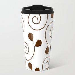 Brown Floral Swirl Pattern Travel Mug