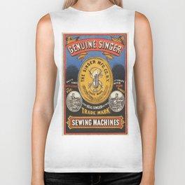 Vintage poster - Singer Sewing Machine Biker Tank