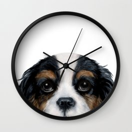 Cavalier King Charles Spaniel tri colored by miart Wall Clock