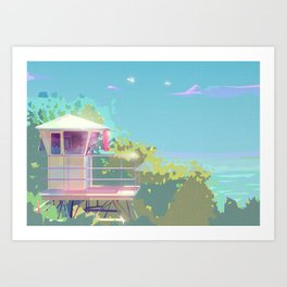 Hanauma Bay, Oahu Lifeguard Tower Art Print