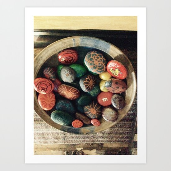 Rock art in ceramic bowl Art Print