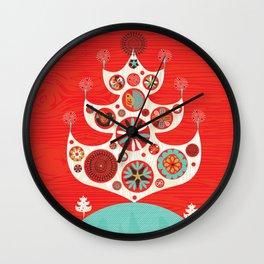 Festive Yule Christmas Tree Wall Clock