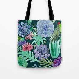 Watercolor Succulent Collage Tote Bag