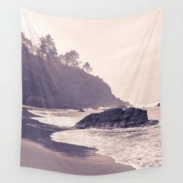 Hazy Washington Coastal Landscape Seascape Mist Beach Ocean Surf Northwest PNW Wanderlust Scenic Art Wall Tapestry