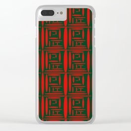 (Green) Chinese Print Clear iPhone Case