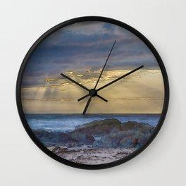 Sunset and God beams - watercolour Wall Clock