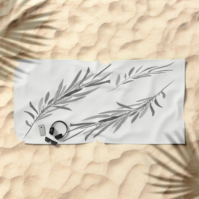 Eucalyptus leaves black and white Beach Towel