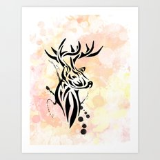 Stag Tribal  Art Print