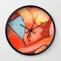 nudes Wall Clocks featuring Nudes: Atlas IV by Adam James David Anderson