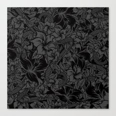 Snaky Fleur, Black and Grey Canvas Print