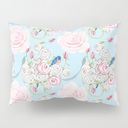 Shabby Chic Bluebirds and Watercolor Roses on pale blue Pillow Sham