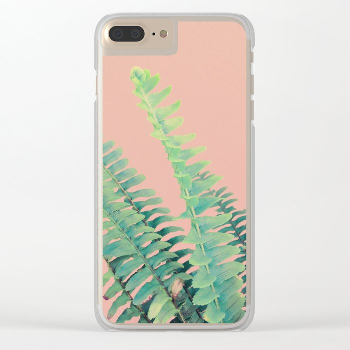 Ferns on Blush Clear iPhone Case