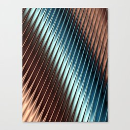 Stripey Pins Teal & Taupe - Fractal Art Canvas Print