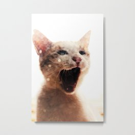 Ginger Cat Portrait Meow Peekaboo Cat Illustration Animal Fine Art Photography Metal Print